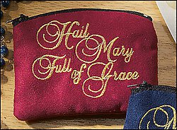 "RED ""HAIL MARY FULL of GRACE"" ROSARY CASE"