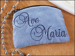 LIGHT BLUE AVE MARIA ROSARY CASE