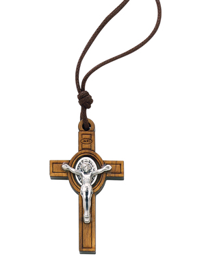 OLIVE WOOD SAINT BENEDICT CRUCIFIX NECKLACE