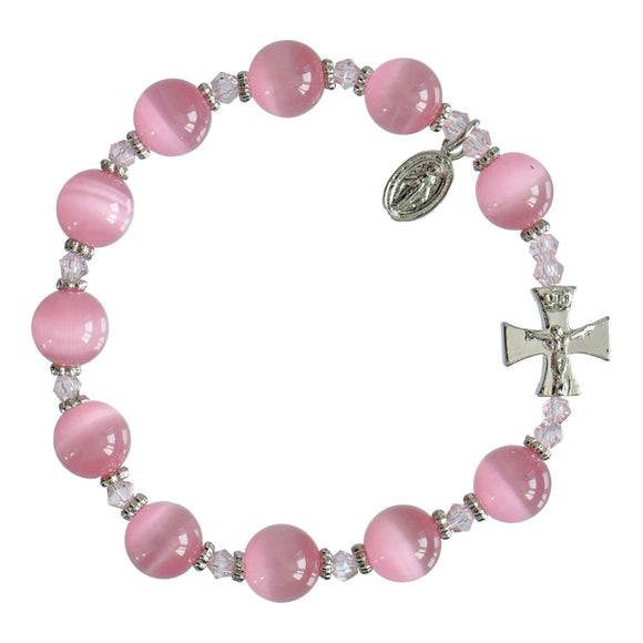 ROSARY BRACELET CAT'S EYE - PINK