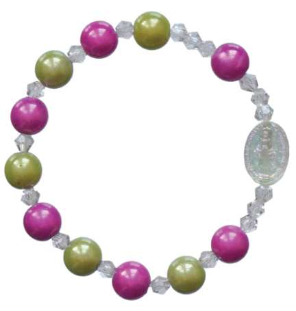 GREEN/PINK CHILD ROSARY BRACELET