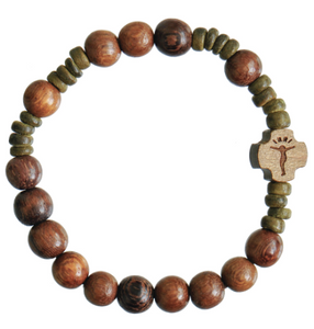 ROSARY BRACELET WOODEN GREEN BEADS