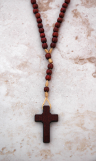 SMALL CORD AND WOODED BEAD ROSARY