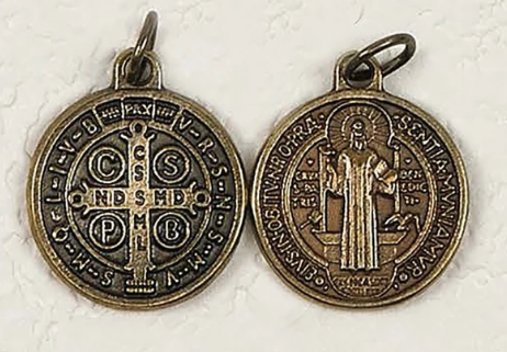 SAINT BENEDICT BRASS 2 SIDED COIN