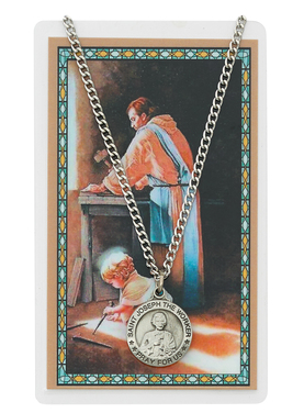 SAINT JOSEPH THE WORKER PENDANT & PRAYER CARD