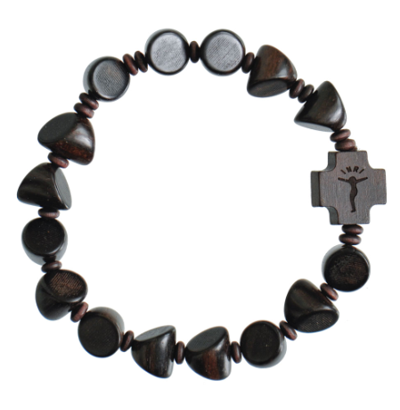 TRIANGLE WOOD ROSARY BRACELET