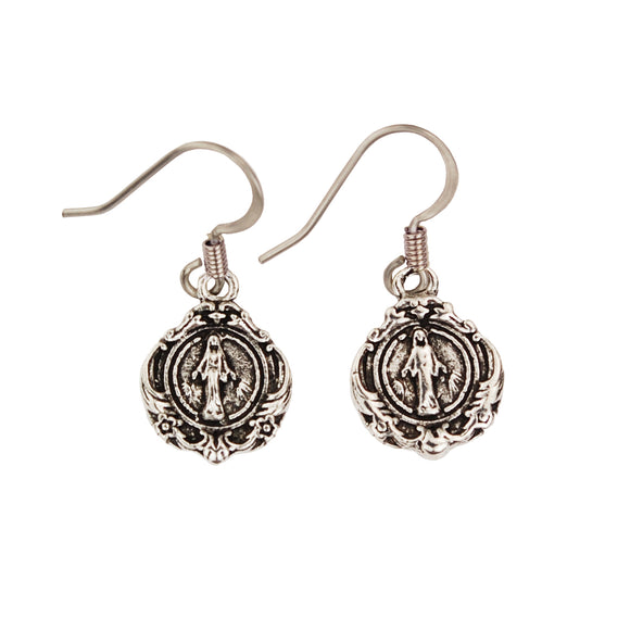 MIRACULOUS MEDAL FISH HOOK STYLE EARRINGS