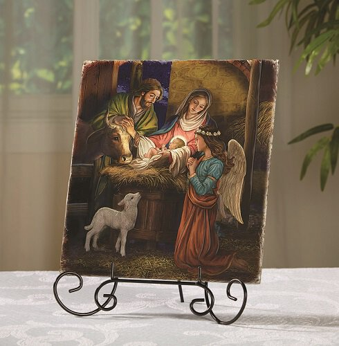 AWAY IN A MANGER TILE PLAQUE