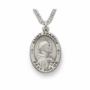 OVAL ST FRANCIS OF ASSISI NECKLACE PEWTER