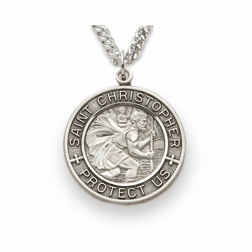 ST CHRISTOPHER PEWTER NECKLACE