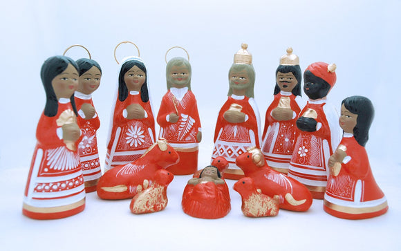 MEXICAN NATIVITY SET IN ORANGE, 6