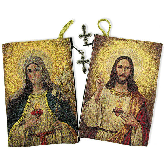 SACRED HEART of JESUS / IMMACULATE HEART of MARY ROSARY POUCH
