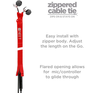 NEET Zippered Cable Tie Wrap (20 cm/ 8 inch). Zips on Stays on. Cord Organizer / Management holder clip for all Earbuds and Mobile Device Cables.