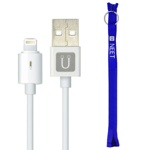 NEET Zippered Cable Tie Wrap with Apple Certified Lightning Cable (20 cm/ 8 inch).