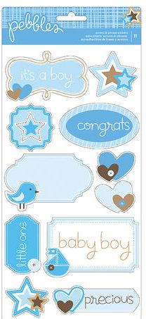 Pebbles Cardstock Stickers - Baby Boy - It'a a Boy