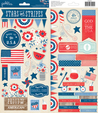 Pebbles Cardstock Stickers - Stars and Stripes
