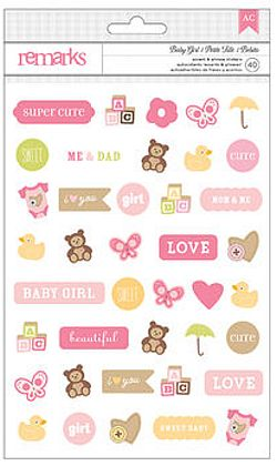 American Crafts Cardstock Stickers - Remarks - Baby Girl Icons