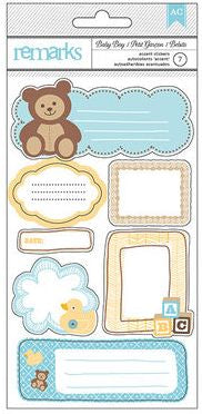 American Crafts Cardstock Stickers - Remarks - Baby Boy Journaling