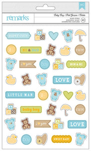 American Crafts Cardstock Stickers - Remarks - Baby Boy Icons