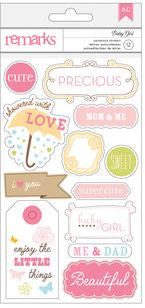 American Crafts Cardstock Stickers - Remarks - Baby Girl Journaling