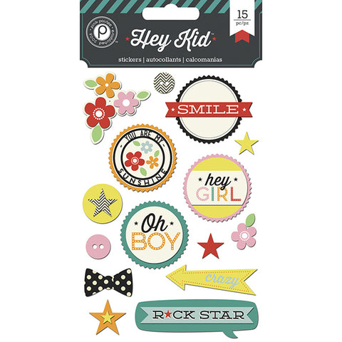 Pink Paislee Layered Chipboard - Hey Kid