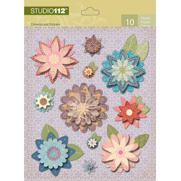 K&Company Studio 112 Dimensional Stickers - Fancy Floral