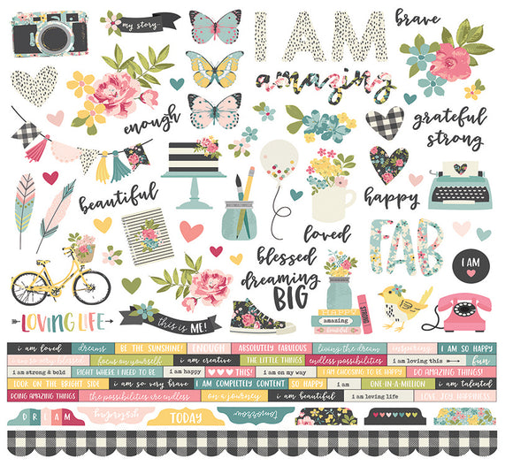 Simple Stories 12x12 Cardstock Stickers - I Am - Combo