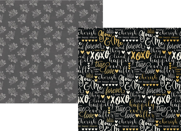 Simple Stories Papers - Always & Forever - I Do with Foil Accents - 2 Sheets
