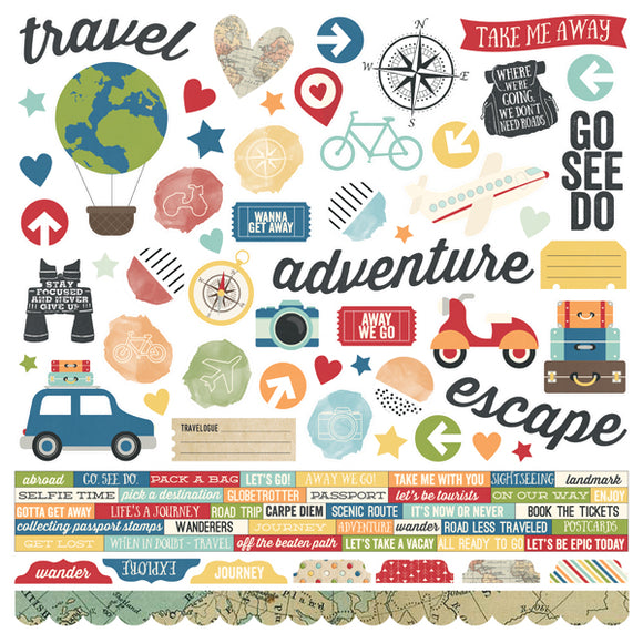 Simple Stories 12x12 Cardstock Stickers - Travel Notes - Combo