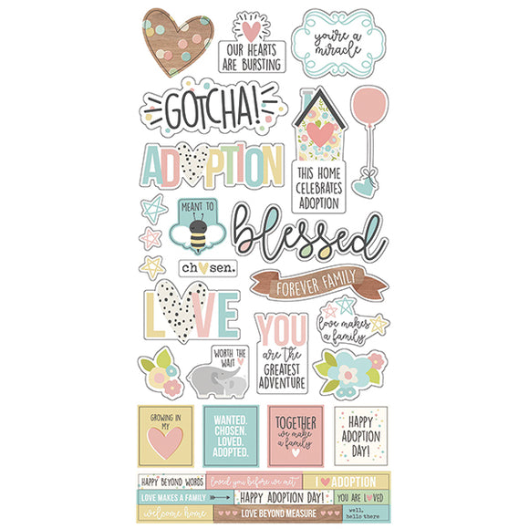 Simple Stories Cardstock Stickers - Oh Baby - Adoption