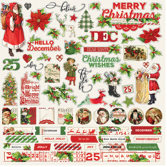 Simple Stories 12x12 Cardstock Stickers - Simple Vintage Christmas - Combo