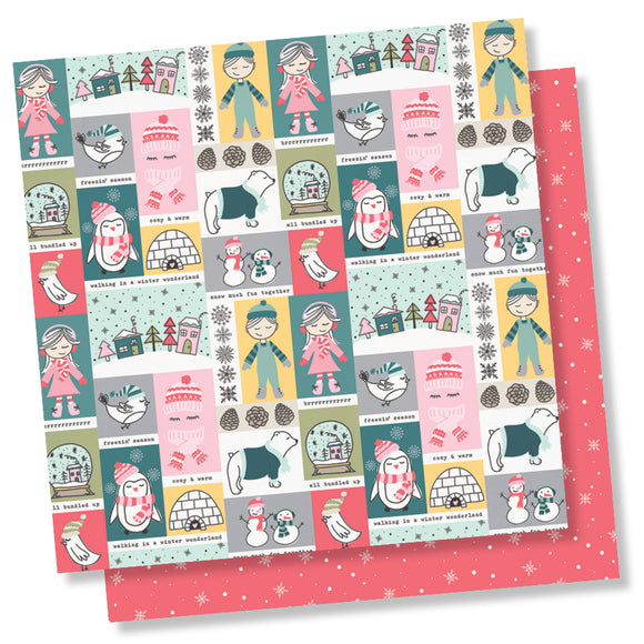 Simple Stories Papers - Freezin' Season - Frosty Friends - 2 Sheets