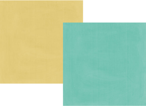 Simple Stories Papers - Heart - Teal/Gold - 2 Sheets