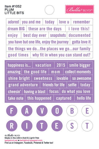 Bella Blvd Little Bits Stickers - Just Add Color - Plum
