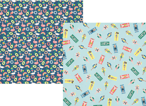 Simple Stories Papers - Sunshine and Blue Skies - Pool Party - 2 Sheets