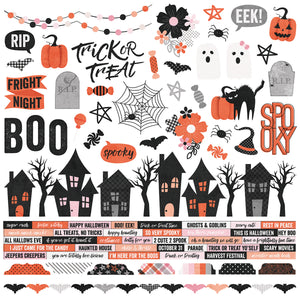 Simple Stories 12x12 Cardstock Stickers - Happy Haunting - Combo