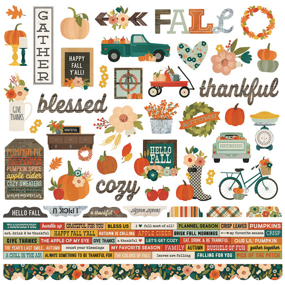 Simple Stories 12x12 Cardstock Stickers - Fall Farmhouse - Combo