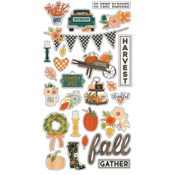 Simple Stories Adhesive Chipboard - Fall Farmhouse