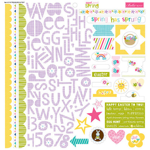 Bella Blvd 12x12 Cardstock Stickers - Sweet Sweet Spring - Treasures & Text