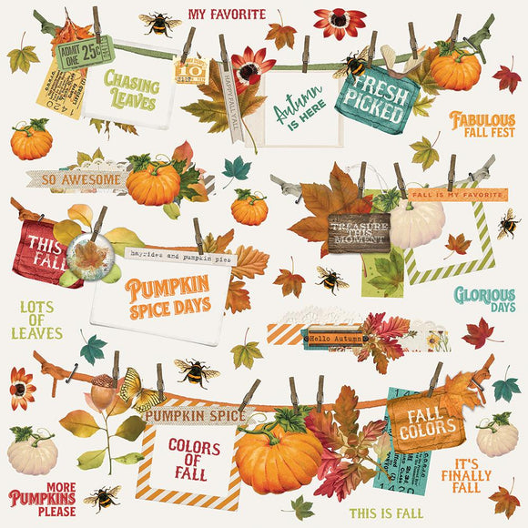 Simple Stories 12x12 Cardstock Stickers - Autumn Splendor - Banners