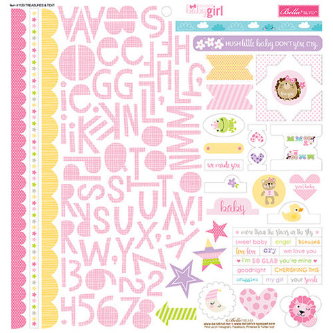 Bella Blvd 12x12 Cardstock Stickers - Sweet Baby Girl - Treasures & Text