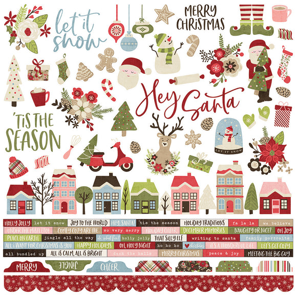 Simple Stories 12x12 Cardstock Stickers - Holly Jolly - Combo