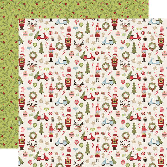 Simple Stories Papers - Holly Jolly - Oh What Fun - 2 Sheets