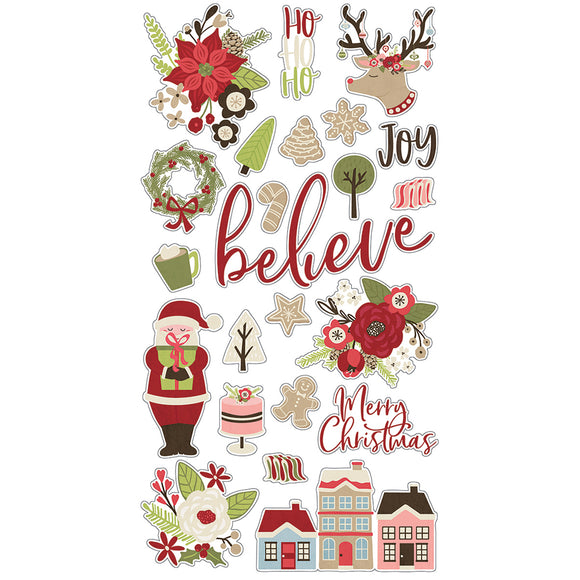Simple Stories Adhesive Chipboard - Holly Jolly