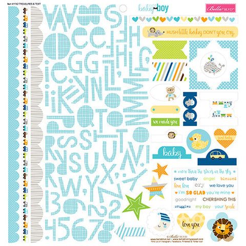 Bella Blvd 12x12 Cardstock Stickers - Cute Baby Boy - Treasures & Text