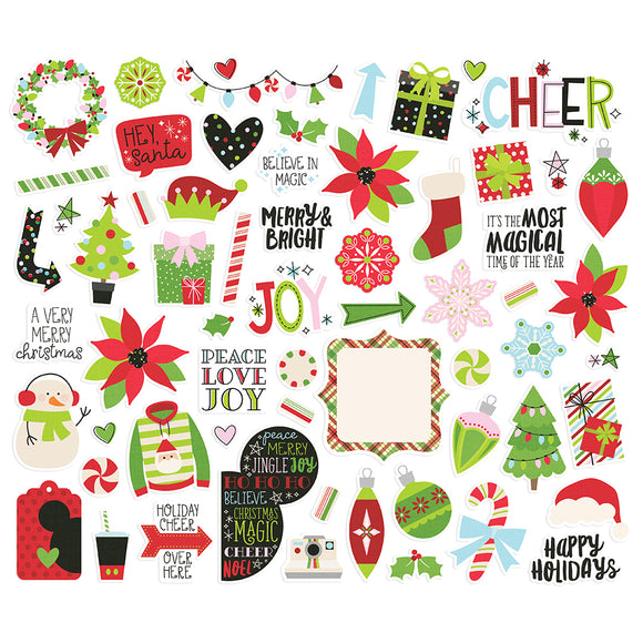 Simple Stories Bits & Pieces - Say Cheese Christmas - Icons & Phrases