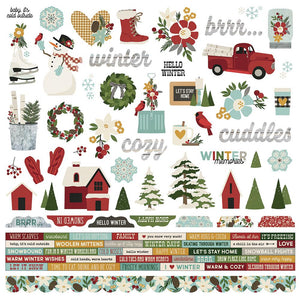 Simple Stories 12x12 Cardstock Stickers - Winter Farmhouse - Combo
