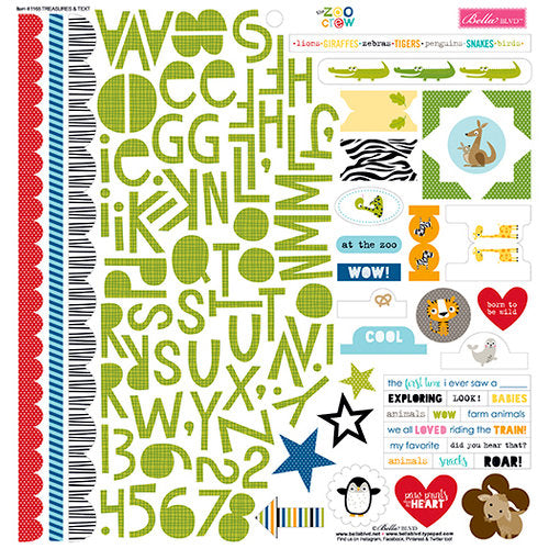 Bella Blvd 12x12 Cardstock Stickers - The Zoo Crew - Treasures & Text
