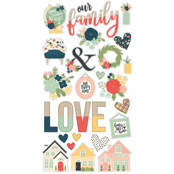 Simple Stories Adhesive Chipboard - So Happy Together