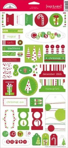 Doodlebug Design Cardstock Stickers - Christmas - Tags & Tabs